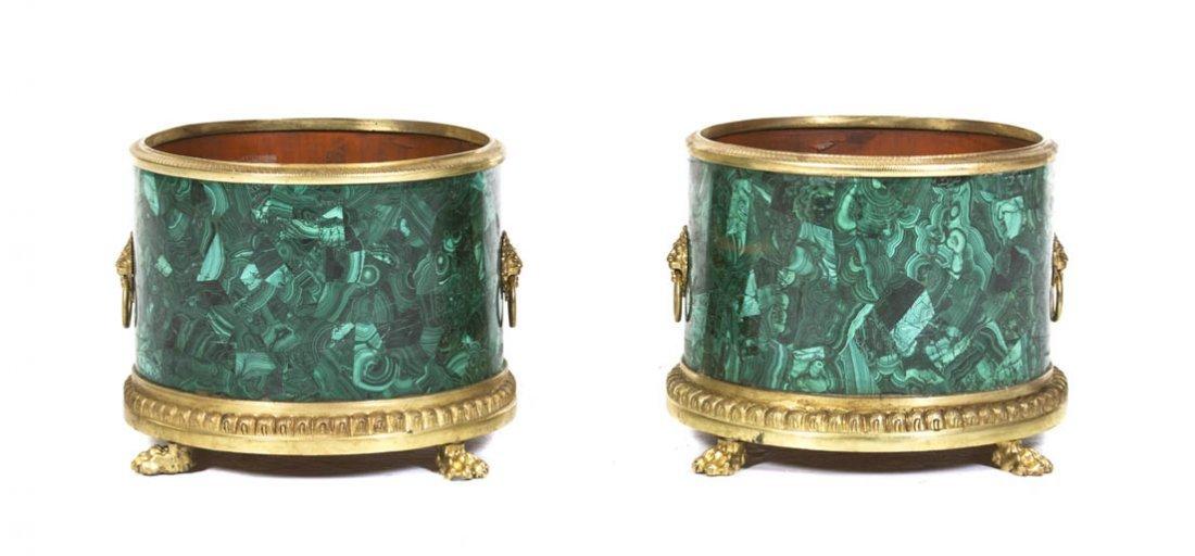 134: A Pair of Louis XVI Style Malachite Veneered and G