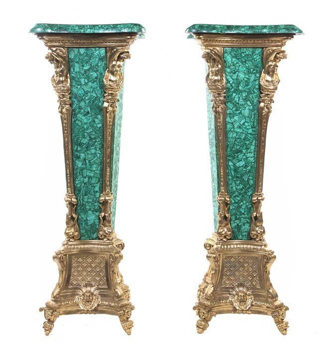 135: A Pair of Malachite and Gilt Bronze Mounted Pedest