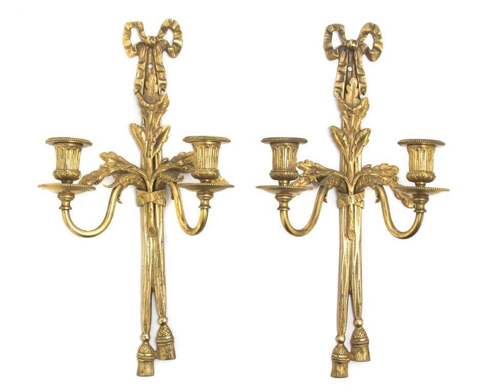 137: A Pair of Louis XVI Style Gilt Bronze Two-Light Sc