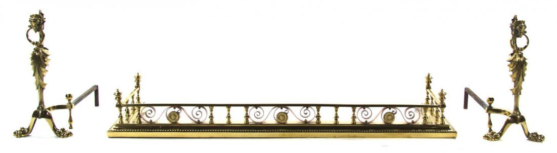 140: A Pair of Neoclassical Style Brass Andirons, Heigh