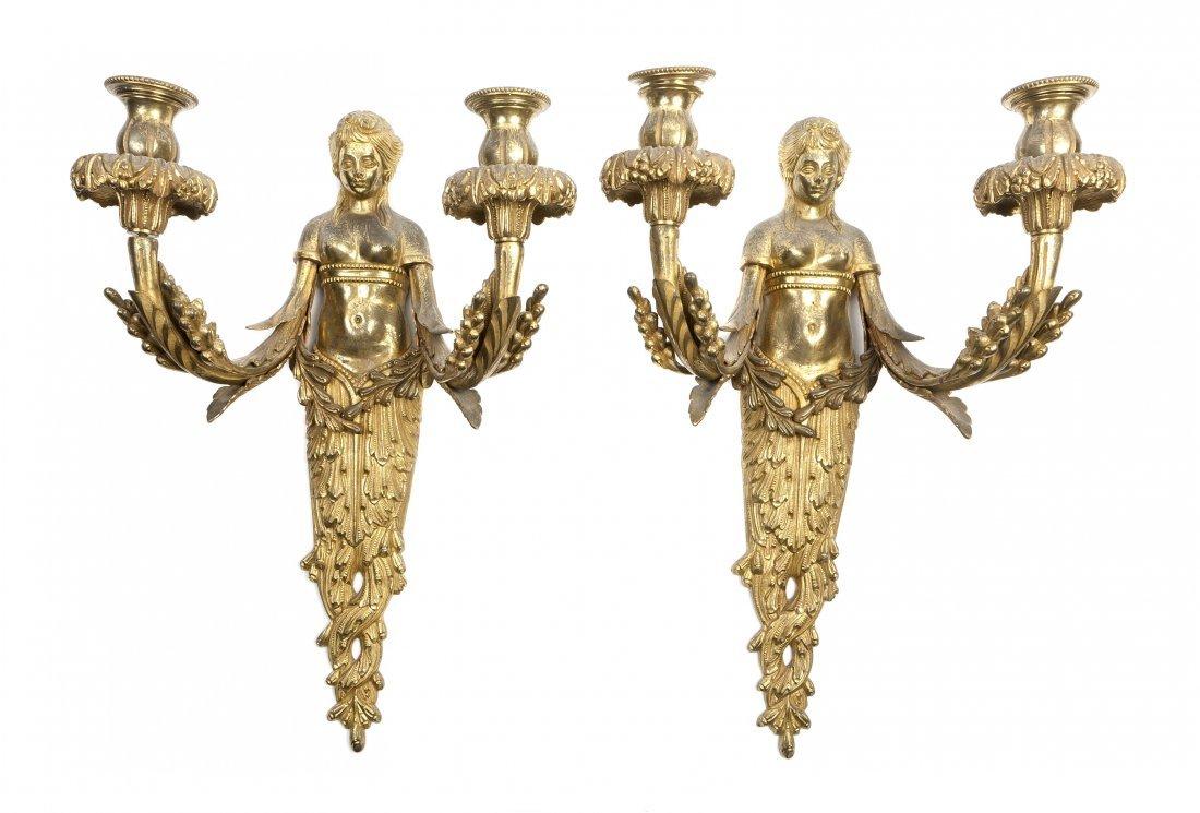 141: An Assembled Set of Four French Gilt Bronze Two-Li