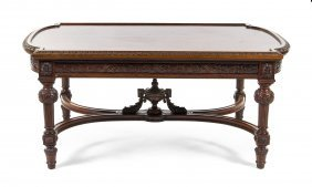 A Neoclassical Mahogany Low Table, Height 17 X Wid