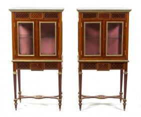 A Pair Of Louis XVI Style Brass Inlaid Vitrines, H
