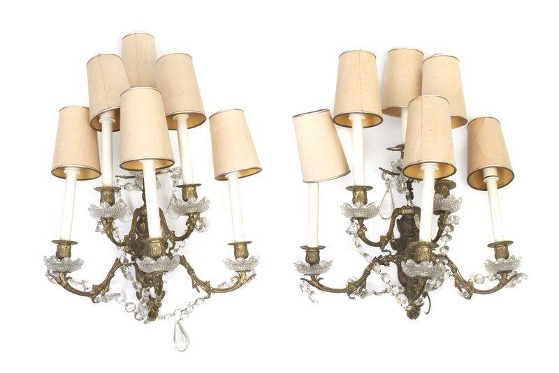 169: A Pair of French Gilt Bronze Six-Light Sconces, He