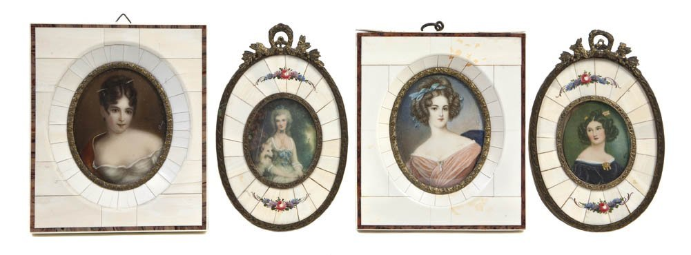 174: A Collection of Four Portrait Miniatures on Ivory,
