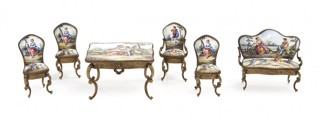 176: A Continental Gilt Metal and Enameled Miniature Pa