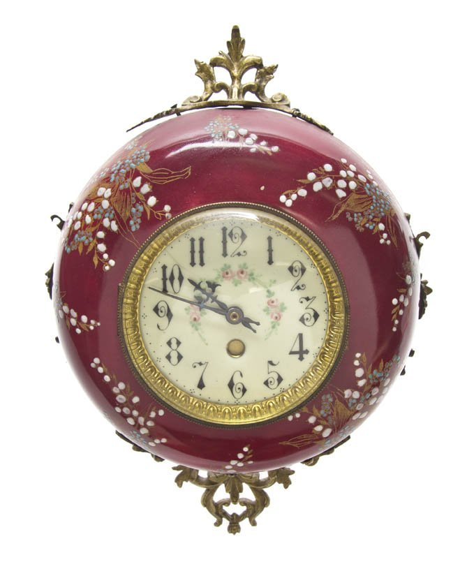 178: A Continental Enameled Wall Clock, Height overall