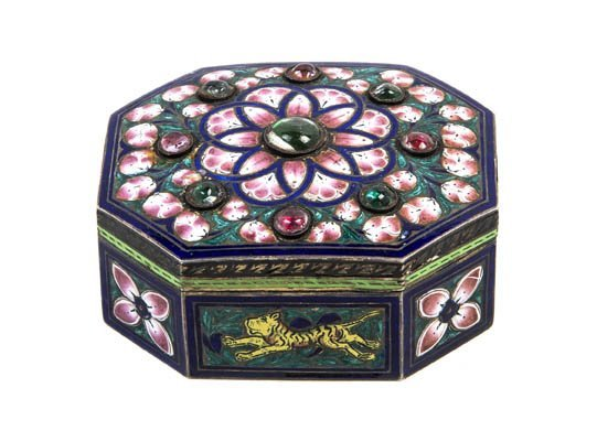 180: A Gilt and Enameled Box, Width 2 1/4 inches.