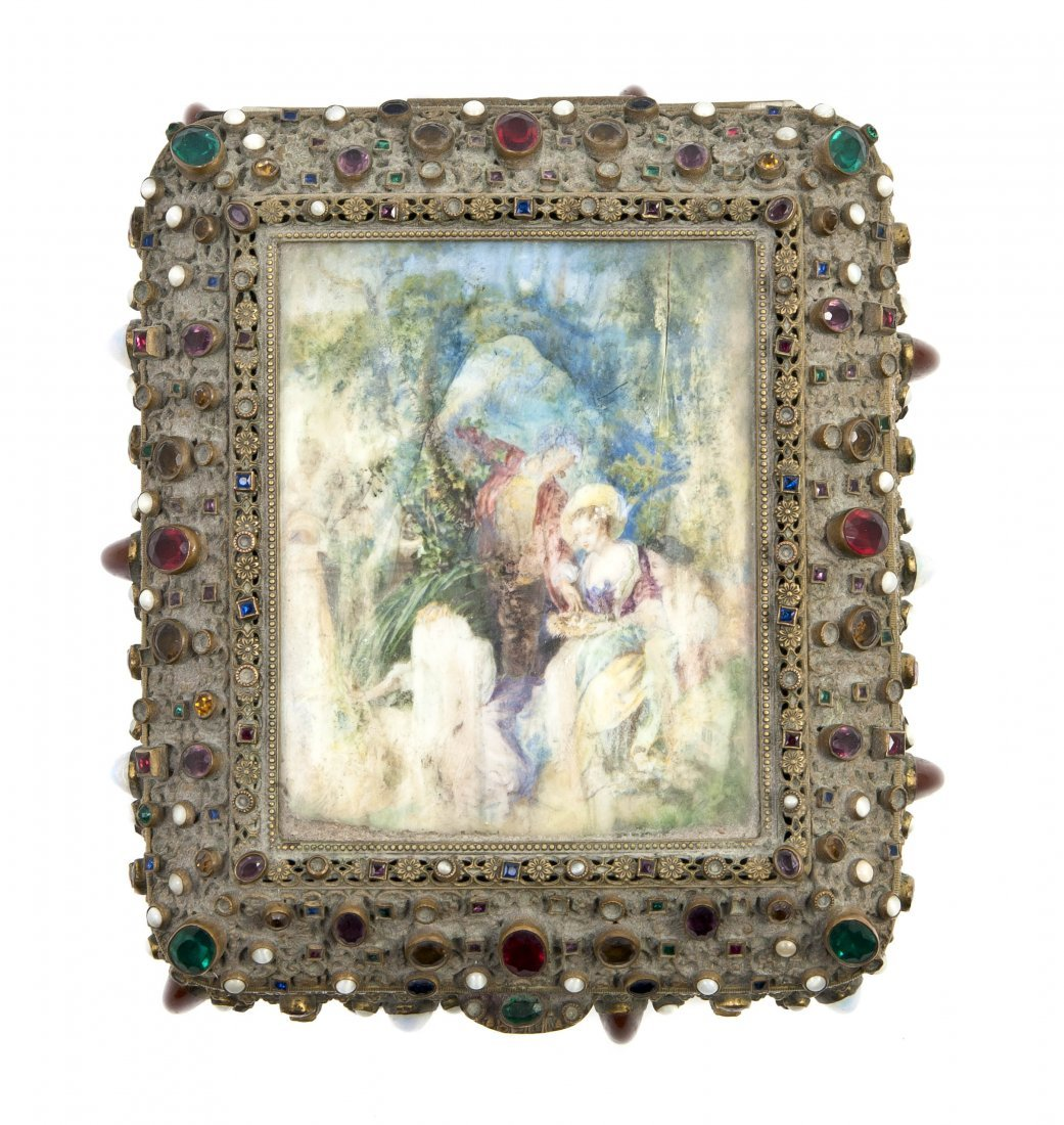 181: An Austrian Gilt Metal and Miniature Painting Inse