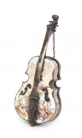 An Austrian Gilt Silver And Enameled Violin Watch