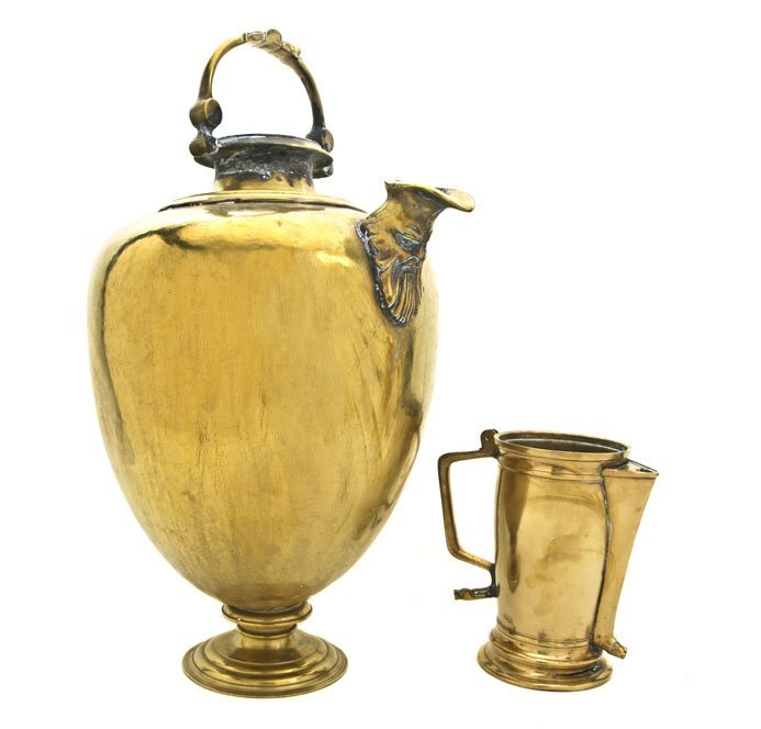 183: Two Continental Brass Pitchers, Height of taller 2