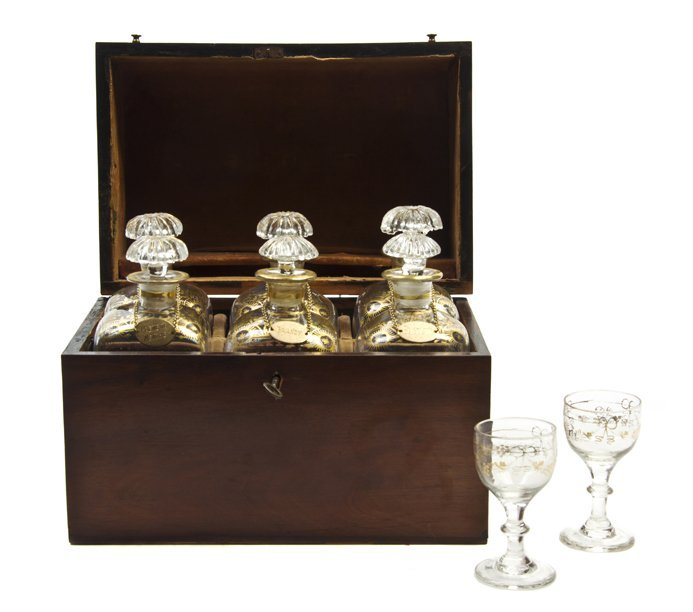 184: A Continental Mahogany Cased Drinks Set, Height of