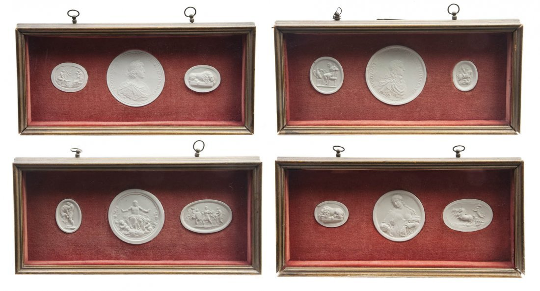 185: A Collection of Twelve Plaster Intaglios, Height o