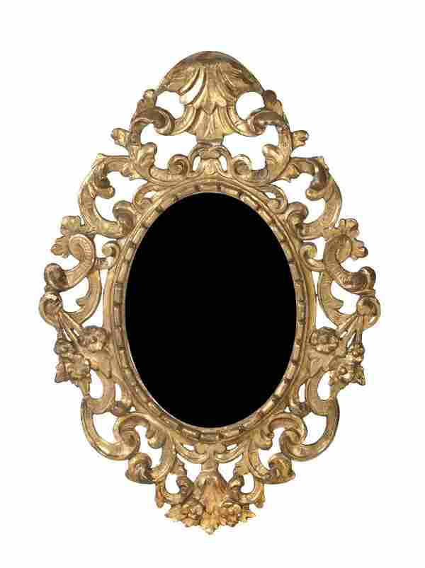 A Continental Giltwood Mirror, Height 40 1/2 x wid