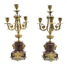 A Pair Of Neoclassical Gilt Bronze And Rouge Marbl