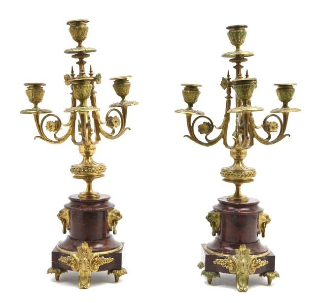 188: A Pair of Neoclassical Gilt Bronze and Rouge Marbl