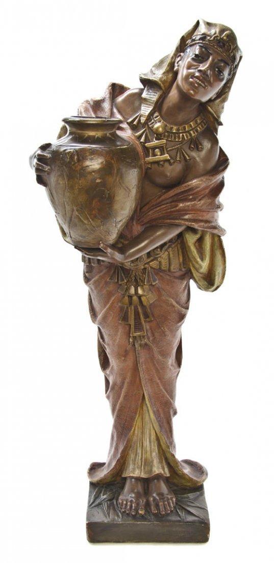 190: An Egyptian Revival Terracotta Figure, Height 35 1