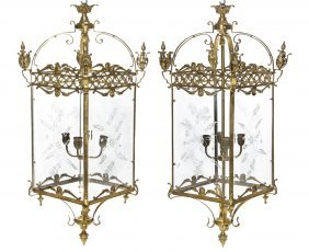 A Pair Of Gilt Metal And Etched Glass Lanterns, He