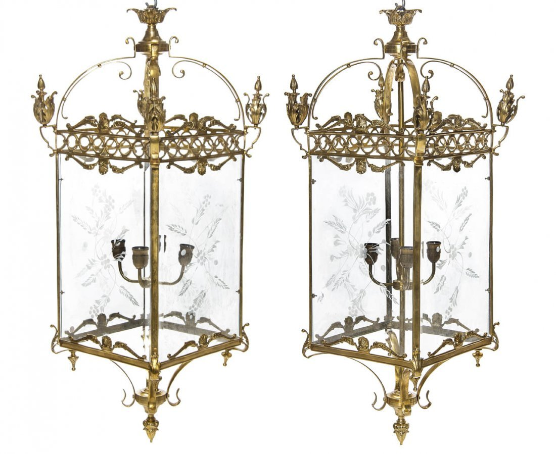 191: A Pair of Gilt Metal and Etched Glass Lanterns, He