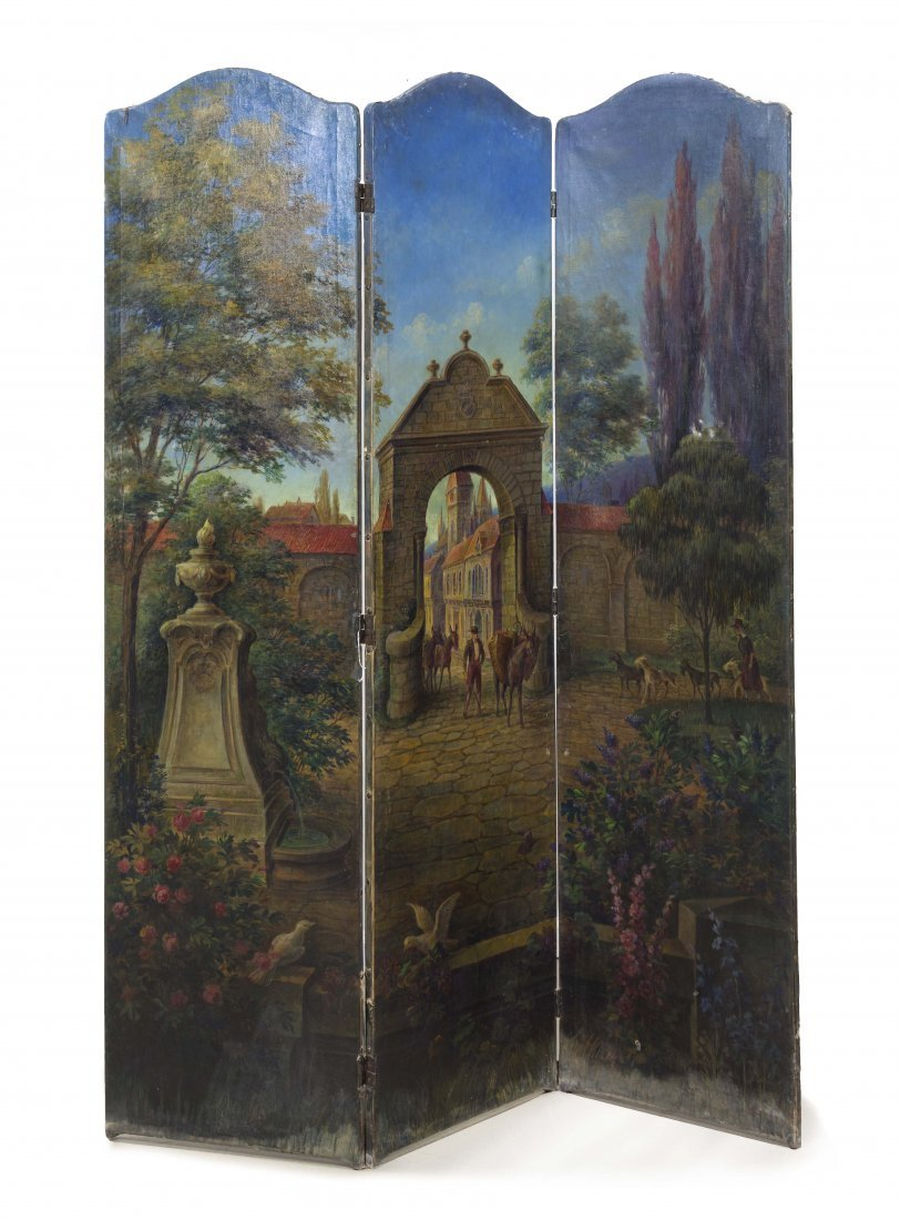 192: A Continental Three Panel Painted Floor Screen, He