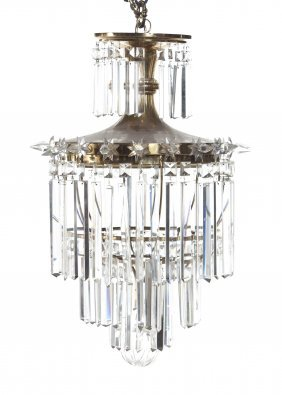 A Brass Hanging Fixture, Height 28 Inches.