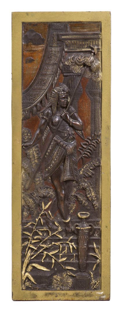 217: An Egyptian Revival Cast Metal Relief Plaque, Heig