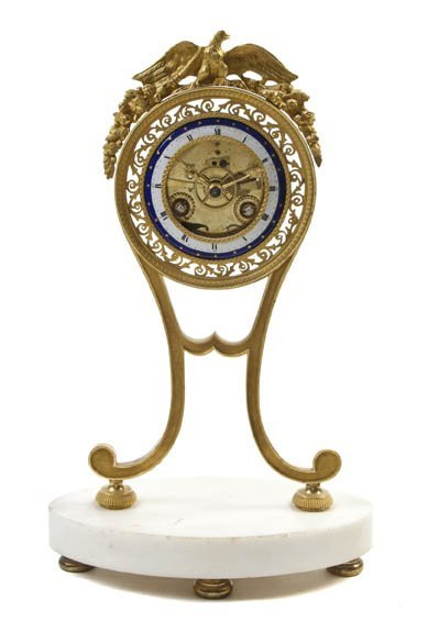 220: A French Gilt Bronze and Marble Clock, Height 12 1
