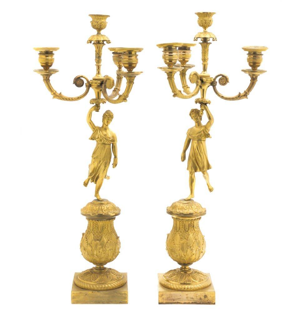 221: A Pair of Empire Gilt Bronze Four-Light Figural Ca