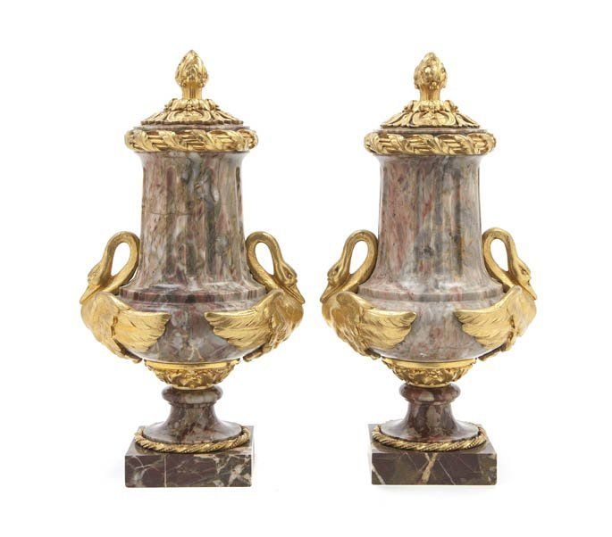 222: A Pair of Empire Gilt Bronze Mounted Marble Urns,
