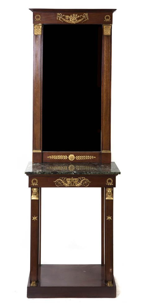 223: An Empire Gilt Bronze Mounted Mahogany Console and