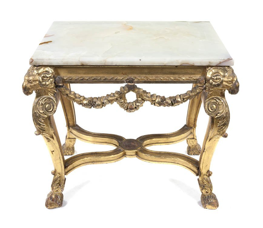 226: A Neoclassical Giltwood and Onyx Occasional Table,