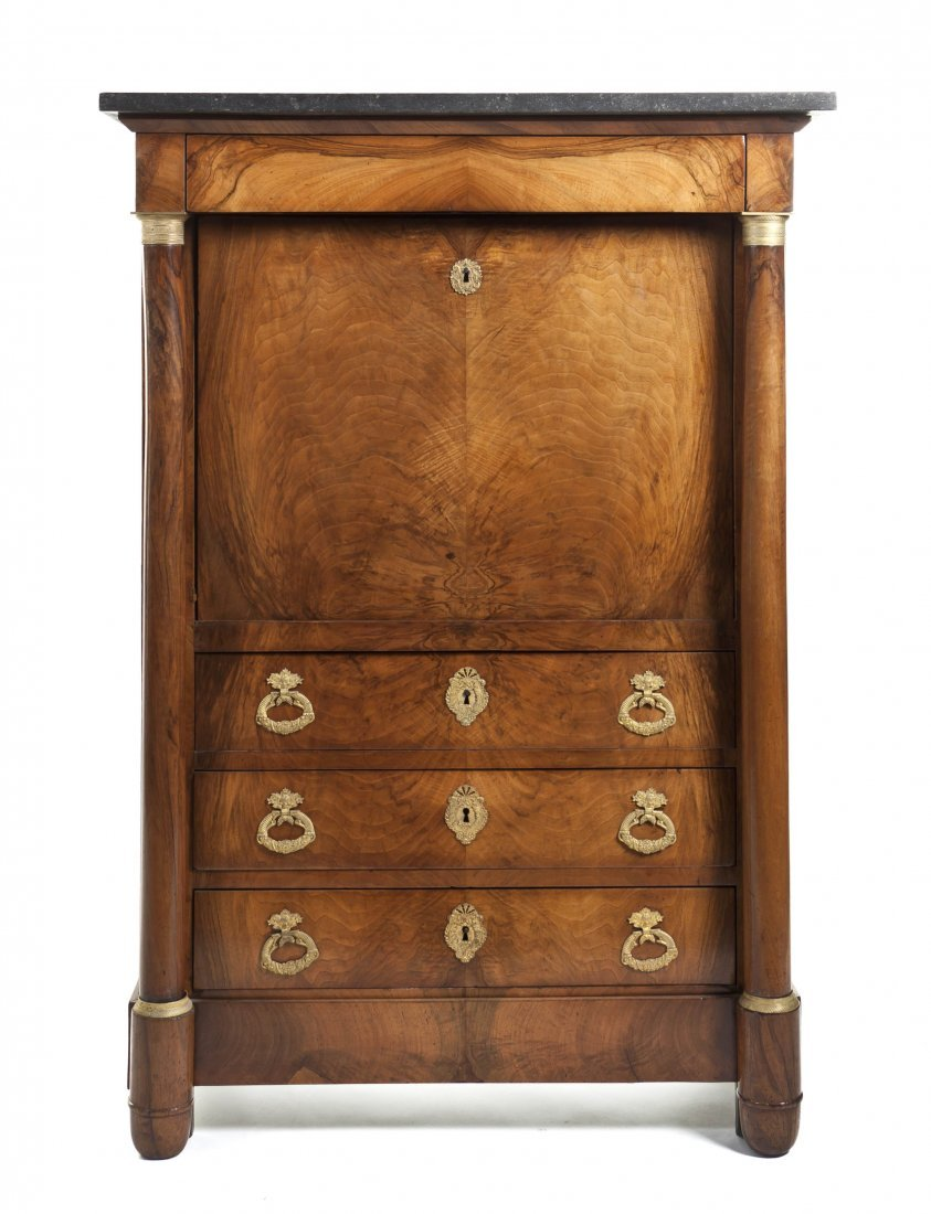 227: An Empire Style Gilt Metal Mounted Secretaire a Ab