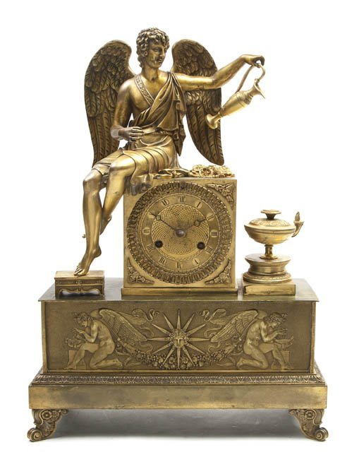 228: A French Gilt Bronze Figural Mantel Clock, Height