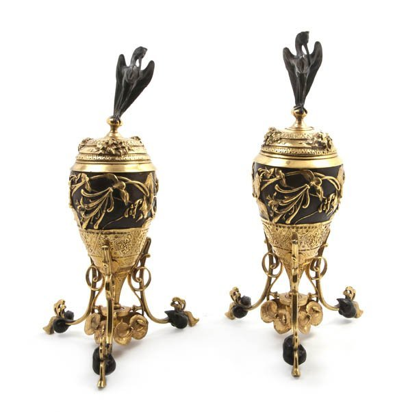 231: A Pair of French Gilt and Patinated Bronze Covered