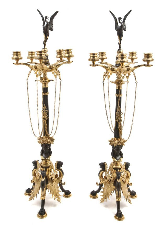 235: A Pair of Neoclassical Gilt and Patinated Bronze F