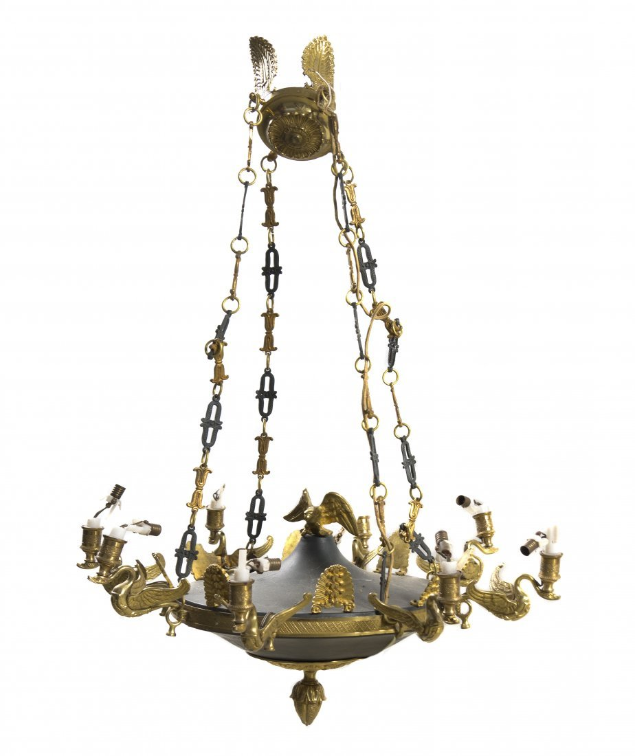 236: An Empire Style Gilt Bronze and Tole Eight-Light C