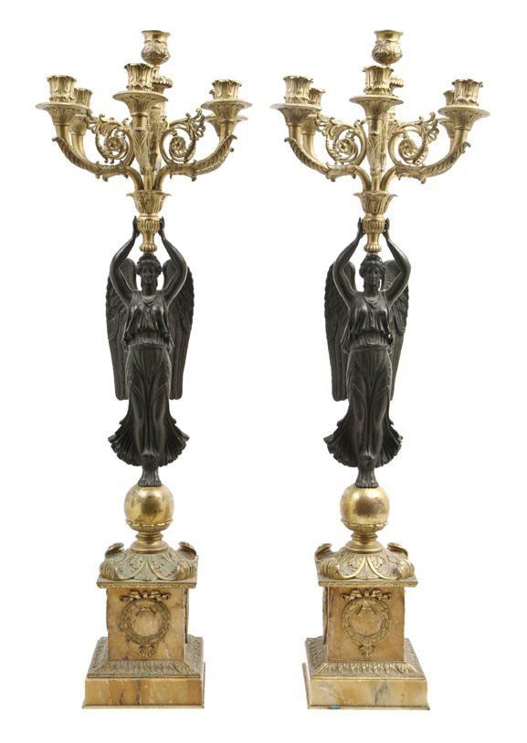 244: A Pair of Empire Gilt and Patinated Bronze Seven-L
