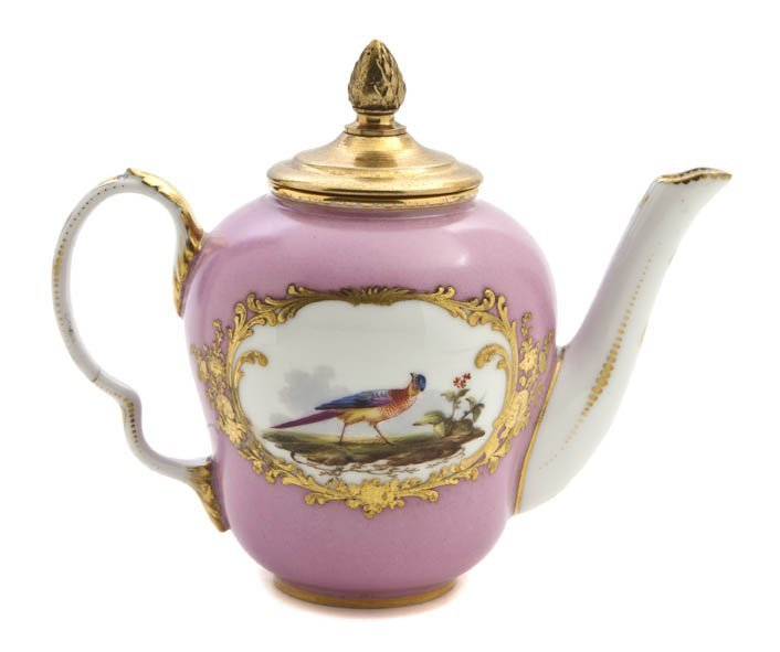 470: A Sevres Style Porcelain Teapot Height 5 1/2 inche