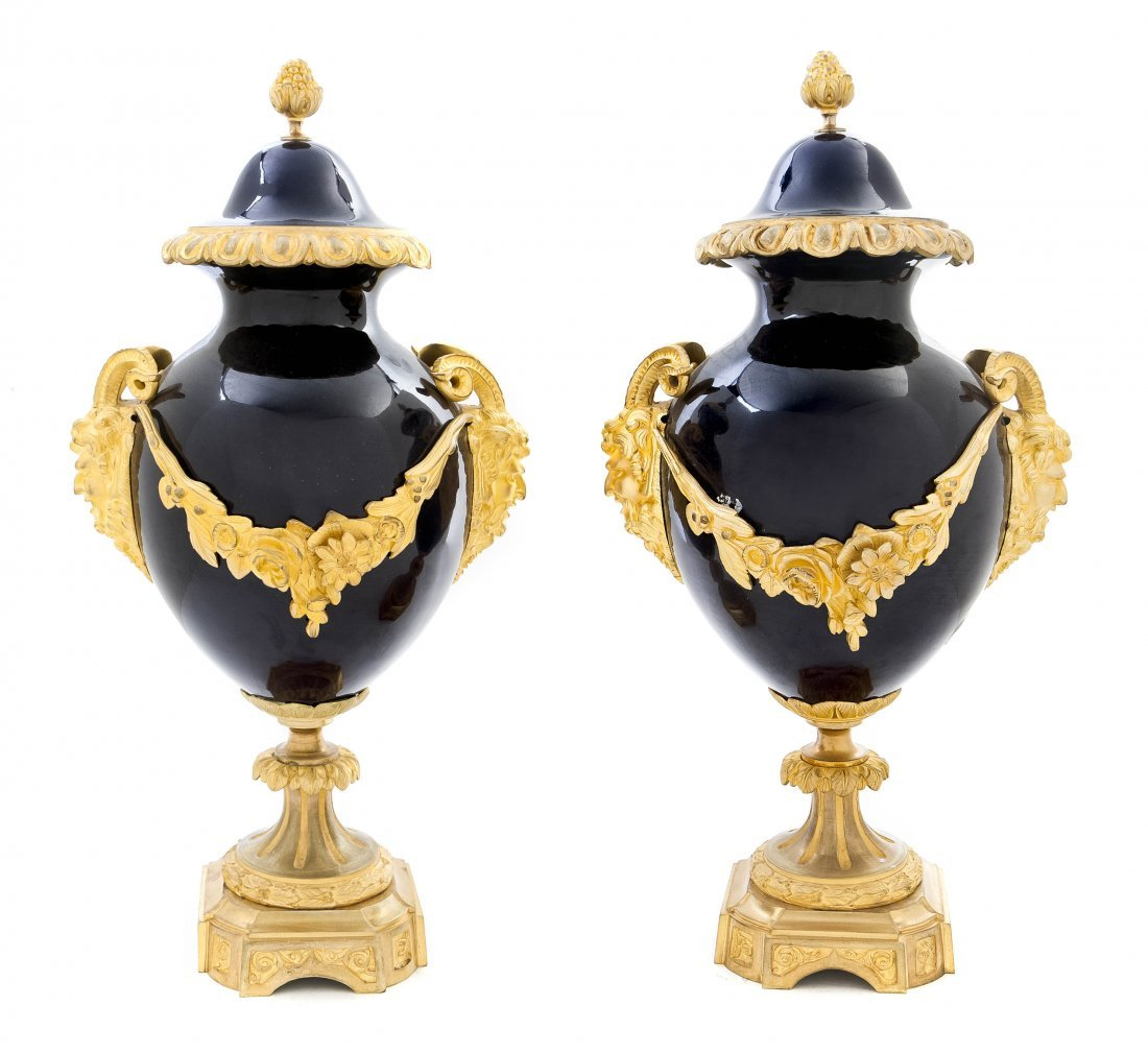 472: A Pair of Sevres Style Porcelain and Gilt Bronze M