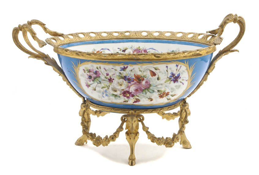 473: A Sevres Style Gilt Bronze Mounted Center Bowl, Wi
