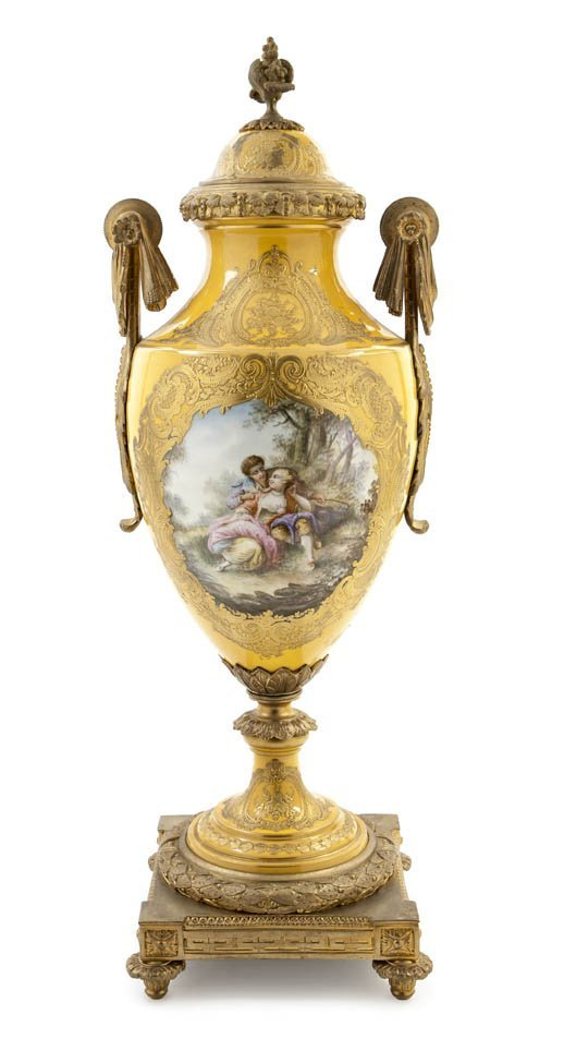 475: A Sevres Style Porcelain and Gilt Bronze Mounted U