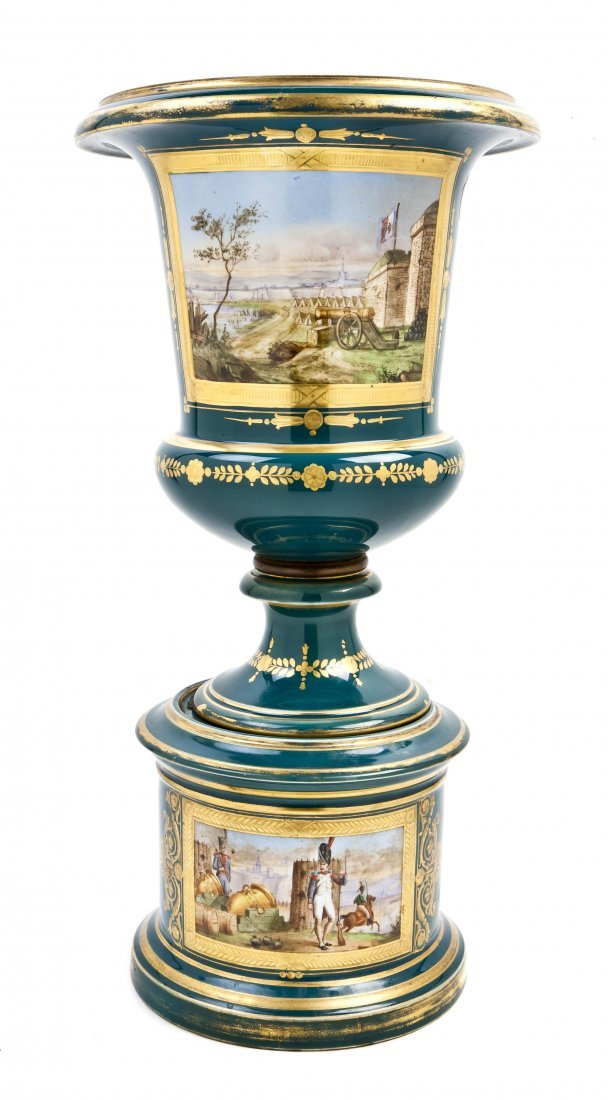 478: A Sevres Style Porcelain Urn on Stand, Height 19 i