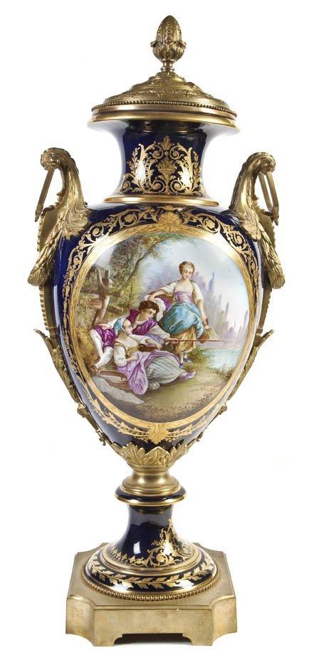480: A Sevres Style Gilt Bronze Mounted Porcelain Vase,