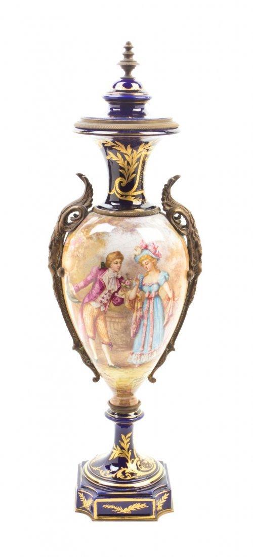483: A Sevres Style Gilt Bronze Mounted Porcelain Vase,