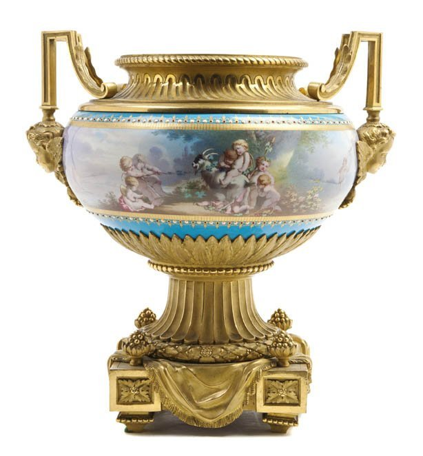485: A Sevres Style Porcelain and Gilt Bronze Mounted U