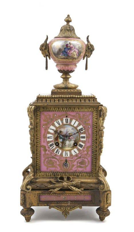 488: A Louis XVI Style Gilt Bronze and Sevres Style Por