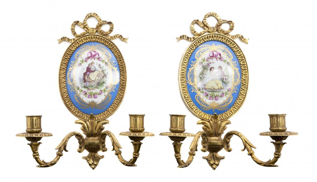 489: Two Sevres Style Gilt Bronze Mounted Wall Applique