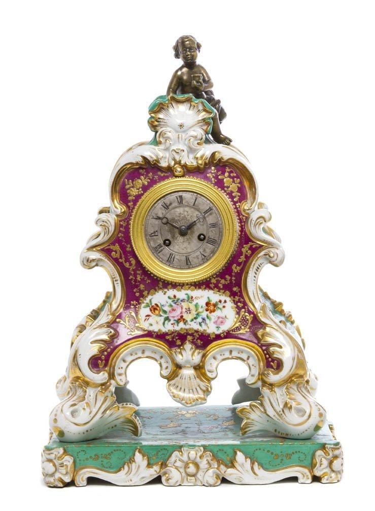 493: A Paris Porcelain Mantel Clock, Height 15 3/4 inch