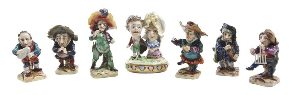543: A Collection of Six Whimsical German Porcelain Fig