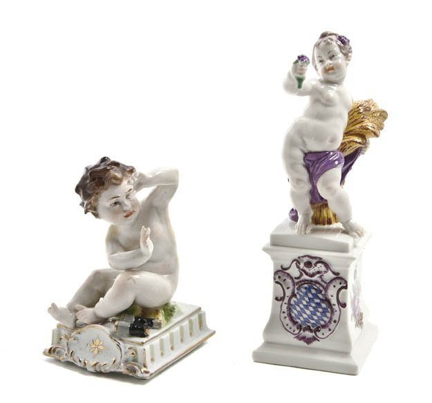 544: Two German Porcelain Figures, Height of first 6 1/